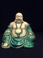 Vintage Chinese glazed porcelain happy Buddh statue