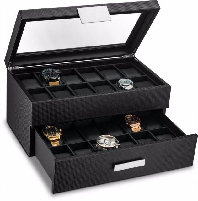 Large 24 Slot Watch Box for Men - Carbon Fiber Design Display Case Holder -Black