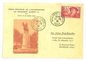 BF257-1938-FRANCE-Paris-Albert-I-Monument-BELGIUM-Brussels-Cover