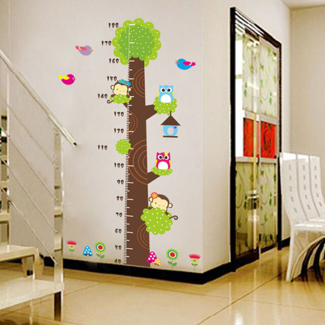 Owls Monkey Tree Height Chart Removable Wall Sticker Vinyl Decal Kids Room Decor