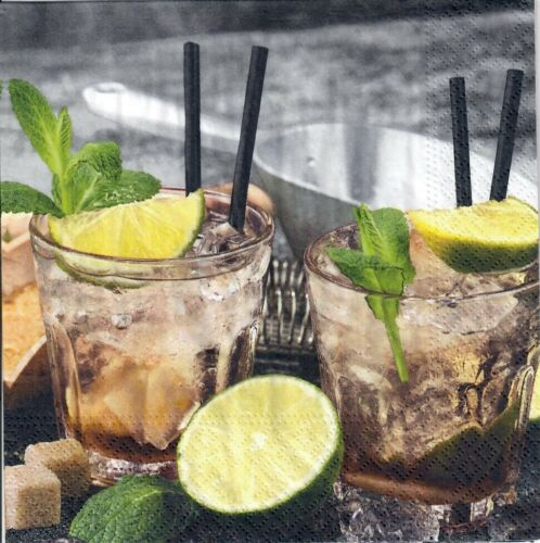 4 Single paper decoupage napkins.Drink cocktail caipirinha drinks summer-758