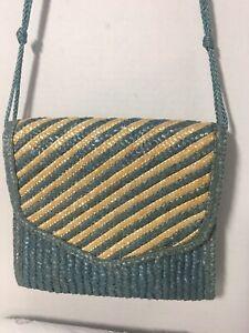 Vintage-Blue-amp-Natural-Straw-Cross-Body-Bag-Clutch-Shoulder-Bag-Hong-Kong-1980-039-s
