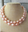 gorgeous  12-13mm   south sea gol pink baroque  pearl necklace 36inch 14k
