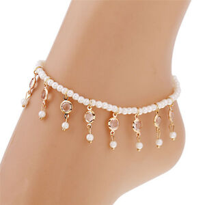 Stylish-Beads-Beaded-stretch-Crystal-tassel-Anklet-Chain-Elegant-Foot-Jewelry-0c