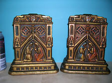 Antique cathedral church architectural bookends Galvano Bronze, clad orig. paint