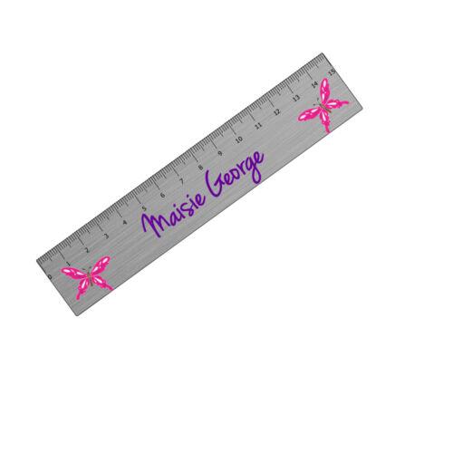 Personalised Football Butterflies Girl Boy Kids School Metal Ruler Gift Stocking
