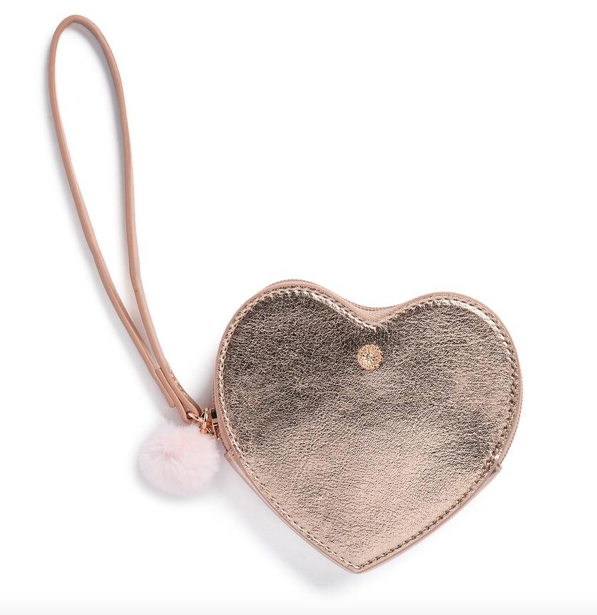 LC Lauren Conrad Heart Wristlet Purse Rose Gold New in Box