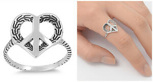 Sterling-Silver-925-OXIDIZED-PEACE-SIGN-WITH-HEART-DESIGN-RING-14MM-SIZES-5-9