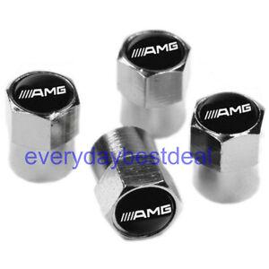 Mercedes benz amg car wheel tyre valve dust caps covers ebay for Mercedes benz valve stem caps