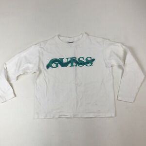 Womens-VTG-GUESS-Green-Spellout-L-S-White-Cropped-Shirt-Top-OSFA-USA-Stains