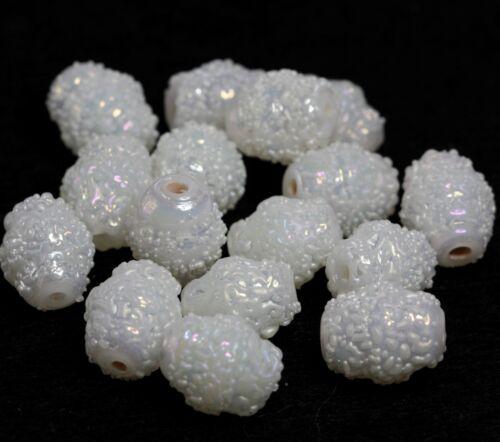 BBB601 16 Indian Fancy Perles De Verre Sucre Blanc AB Coated Lanterne 12 x 10 mm