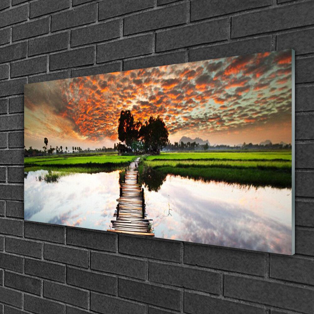 Tableau sur verre Image Impression 100x50 Paysage Lac Pont