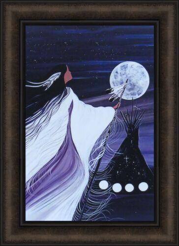 NOVEMBER MOON by Betty Albert 16x22 FRAMED PRINT Native American Woman Tipi HCD