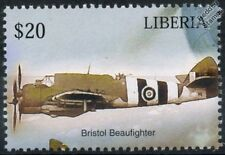 RAF BRISTOL BEAUFIGHTER Type 156 D-Day Livery Aircraft Stamp (Liberia)