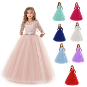 search for clearance elegant and graceful how to get Details about Flower Girls Lace Long Junior Bridesmaid Dress for Wedding  Party Pageant Gown