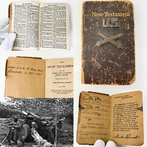 Rare-WWII-1943-35th-Field-Artillery-Group-1st-Lt-Ritter-FDR-Solider-Bible-Relic