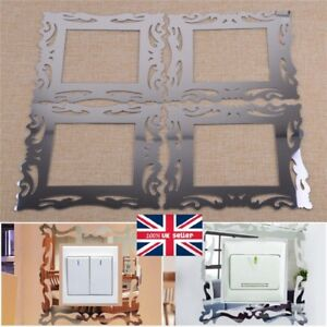 Details about 4pc Silver Mirror Flower Light Switch Surround Wall Sticker  Frame Decoration DIY