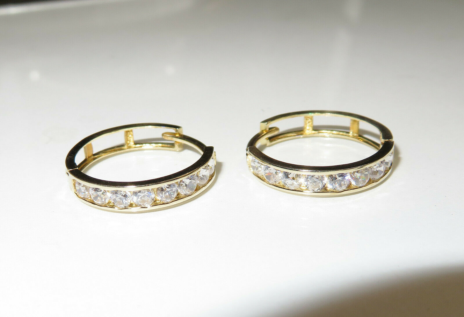 7e3b830f0c4d5 10K Yellow Zirconia Cubic Set Channel Earrings, Hoop gold ...