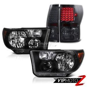 Black-Crystal-Clear-Headlight-Smoke-Tint-LED-Tail-Light-For-07-13-Toyota-Tundra
