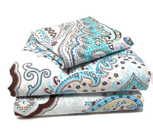 Tache Frozen Forest Blue White Paisley Damask Floral Cotton Soft Duvet Cover Set