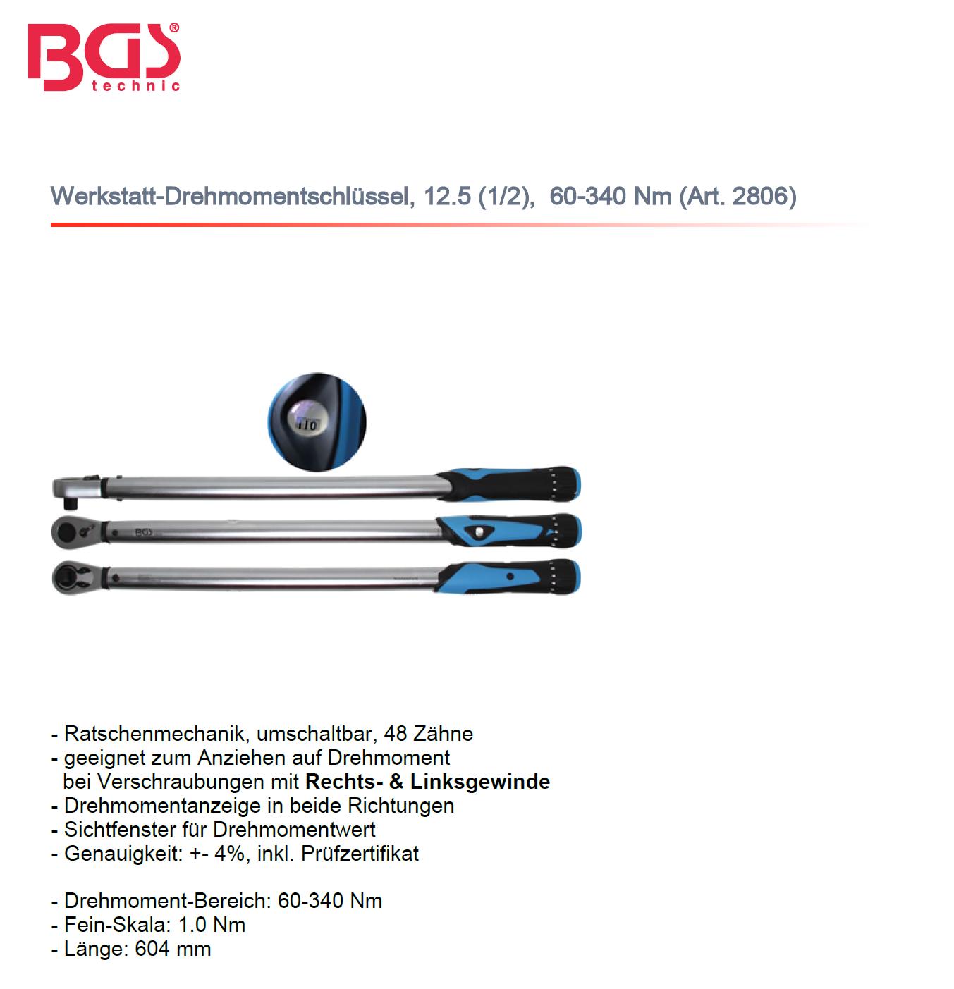 Drehmomentschlüssel für Werkstatt, 12.5 (1/2), 60-340 Nm   Art. 2806