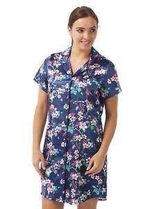 Ladies Navy Blue Floral Satin Chemise Nightie Nightdress PLUS SIZE 12-34!