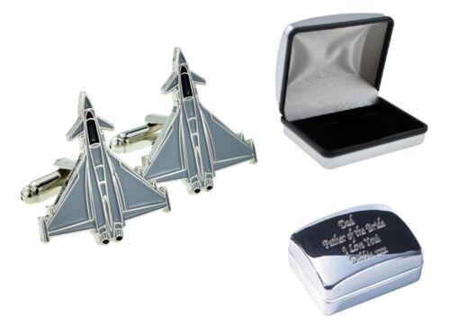 Eurofighter Plane Cufflinks upgrade option Engraved Personalised Case XJKC-B2-18