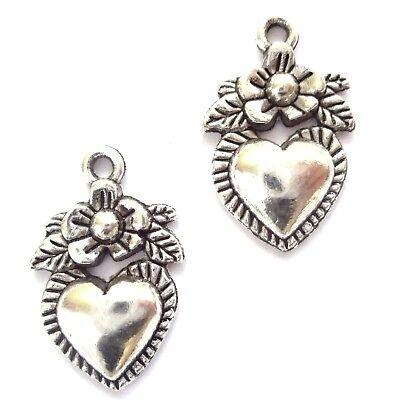 20 Tibetan Silver 12X18mm Heart Charms Jewellery Making