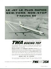 Publicité ancienne avion Boeing 707 TWA long courrier 1959  issue de magazine