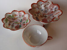 Vintage Hand Painted Japanese Tea Cup Footed Bowl Set Geisha Blossoms Delicate