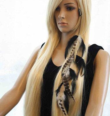 4 Piece 7a-40 Long chain Feathers Hair Extension Hair Clip lhf130510