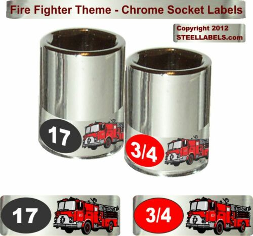 """""""Fire Fighter"""" Theme Chrome Socket Label Set -  90 Piece Easy Read Tool ID"""