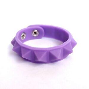 Glow-In-Dark-Purple-Studded-Silicone-Rubber-Wristband-Bracelet-Wrist-Band-Cuff