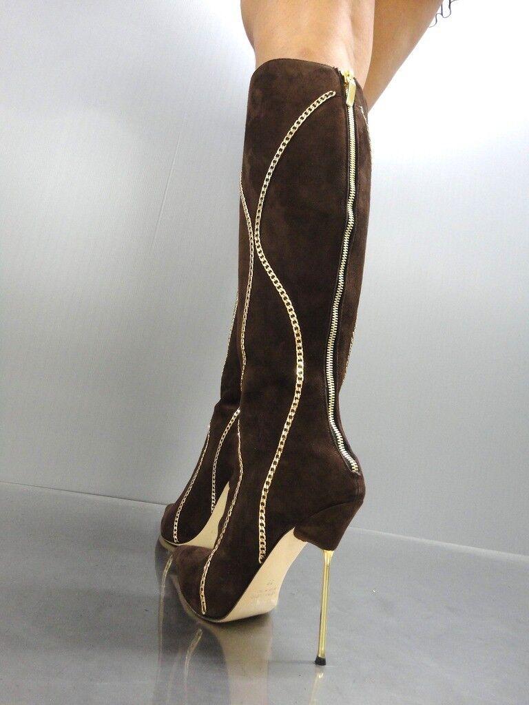 CQ COUTURE CUSTOM KNEE Stiefel STIEFEL STIEFEL Gold CHAIN CHAIN CHAIN LEATHER BRAUN BRAUN 34  4817f5