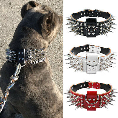 Spiked Dog Collar Leather Collars for Dogs PitBull Bulldog AmStaff Small Large
