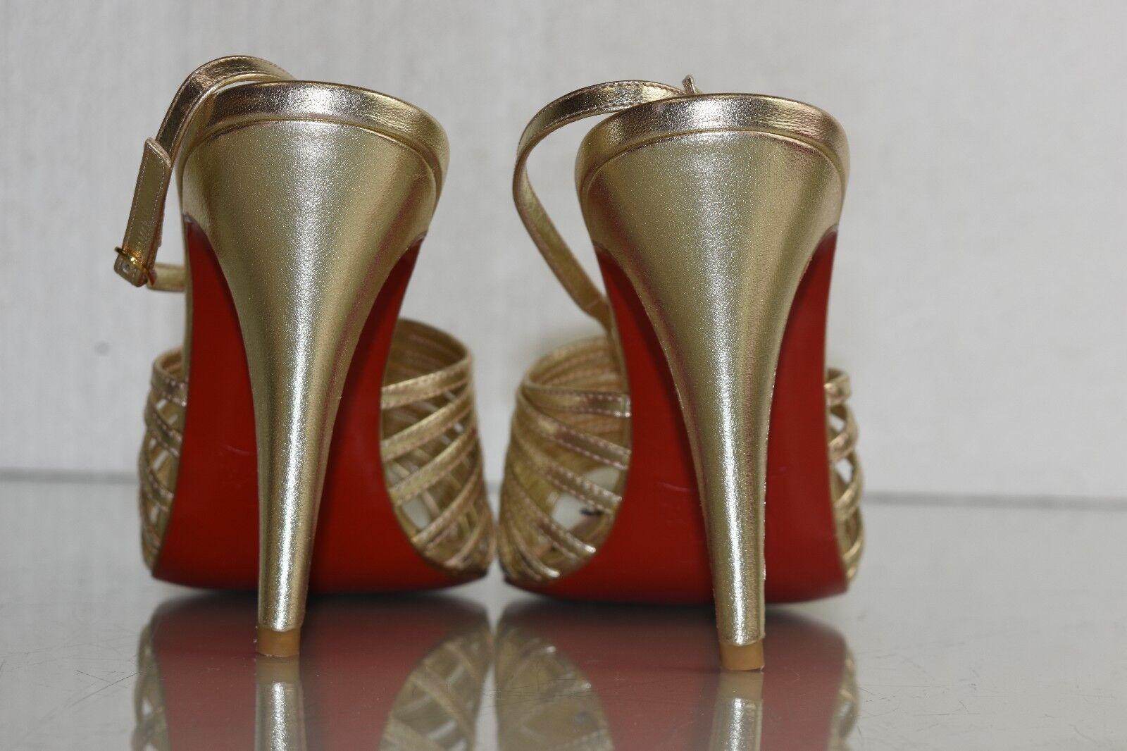 Neu Christian Louboutin Bretelle 100 Riemchensandalen Gold 38 Platin Schuhe 38 Gold 39 bd8290