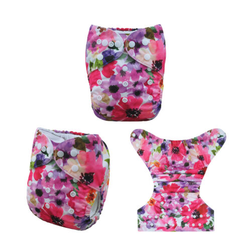 ALVABABY Reusable Washable Baby Cloth Diapers Pocket Diapers 1pcs Bamboo Insert