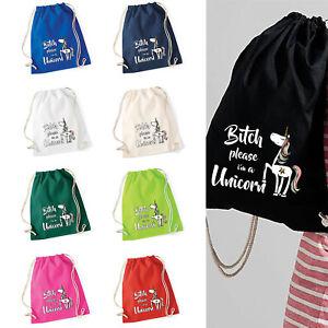 Baumwoll Turnbeutel mit Spruch Motiv  BItch please  Tasche Gym Bag