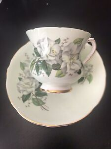 Royal-Stafford-Bone-China-Tea-Cup-And-Saucer-Gold-Rim-Vintage
