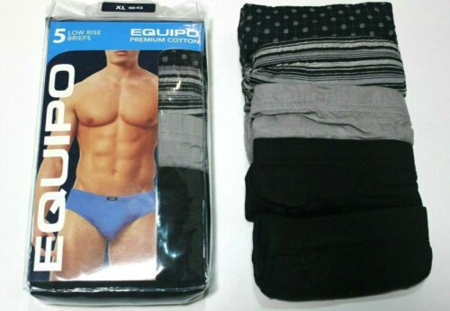 Men/'s Equipo 5-Pack Noir//Gris Couleurs Taille basse Slips Premium Coton Sous-vêtements