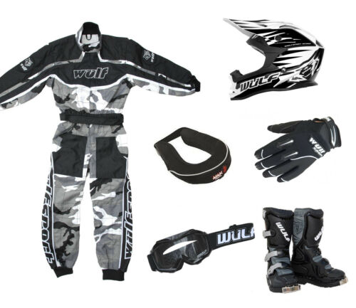 Kids Wulfsport MX Overall Glove Boot Helmet Neck Brace Goggle Black Camo #O11