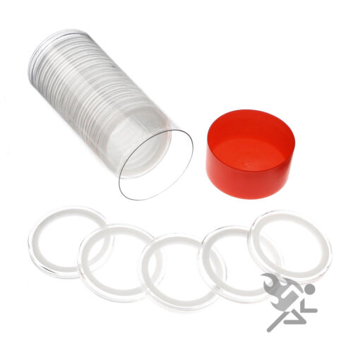 Silver /& Copper Round Holder Red Capsule Tube /& 20 Air-Tite 39mm White Rings