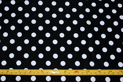 Black/white Polka-dot Lycra/Spandex 4 way stretch Fabric By The 1/2 Yard