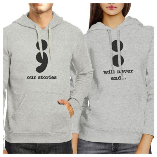 Our Stories Will Never End Matching Couple Grey Hoodie