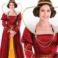 Queen Elizabeth Costume Medieval Tudor Regal Royal Queen Fancy Dress One Size