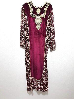 Jellabiya Jellaba Abaya Maxikleid Khimar Winterkleid Samtkleid Jilbab Gr L 3XL