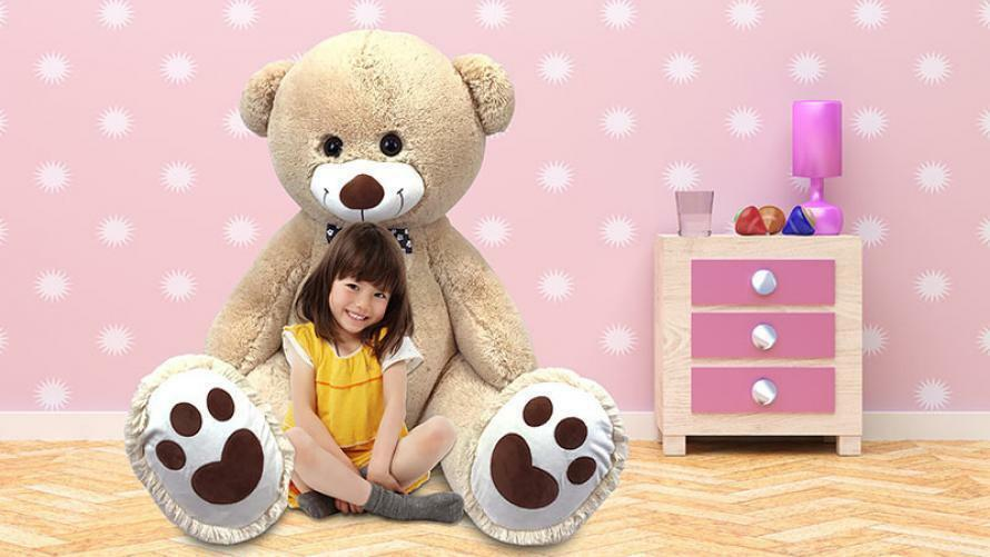 5 ft Tall Large Inflatable Plush Teddy Bear Pal Inflate-A-Mals Ages 3+