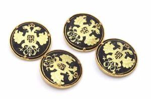 Rare-SET-OF-FOUR-Large-DAMASCENE-Gold-Buttons-w-DOUBLE-EAGLE-Motif