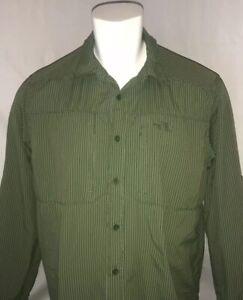 The-North-Face-Mens-XL-Outdoors-Long-Sleeve-Shirt-Hiking-Fishing-Green-Stripe