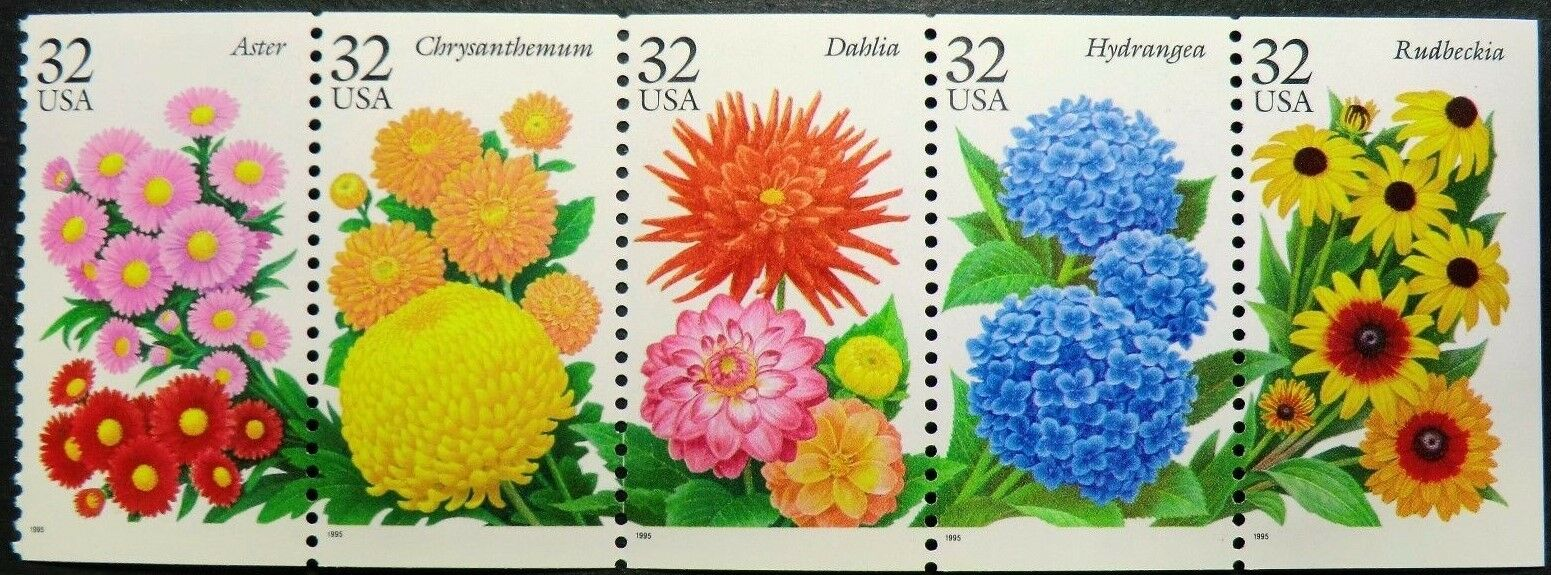 1995 32c Fall Garden Flowers, Booklet Pane of 5 Scott 2